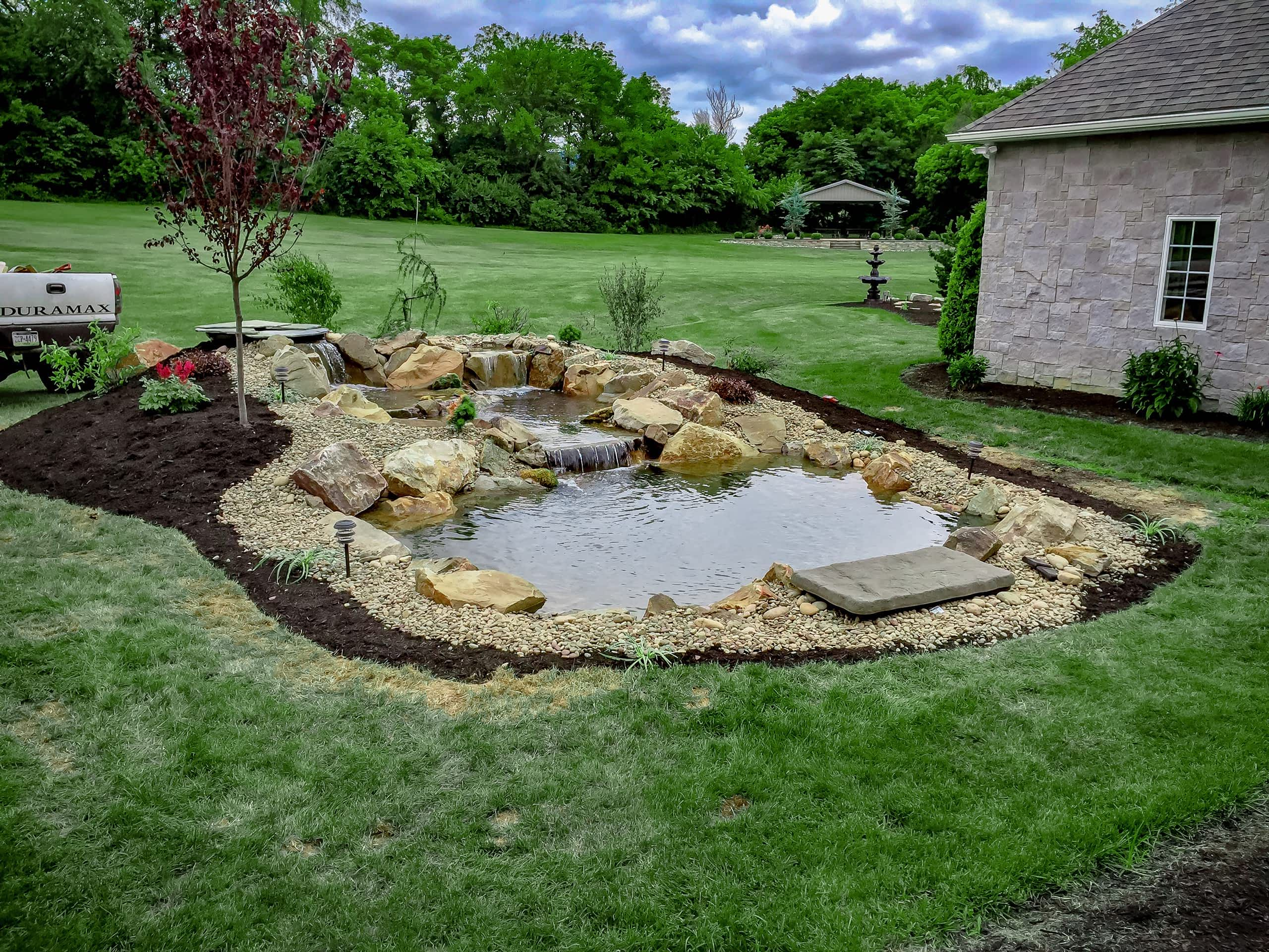 H2oasis water feature design and installation custom for Backyard pond installation