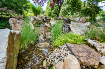 Wide angle photograph of a recent waterfall installation