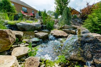 Backyard waterfall installation
