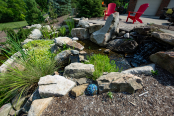 Waterfall design from the top of water feature